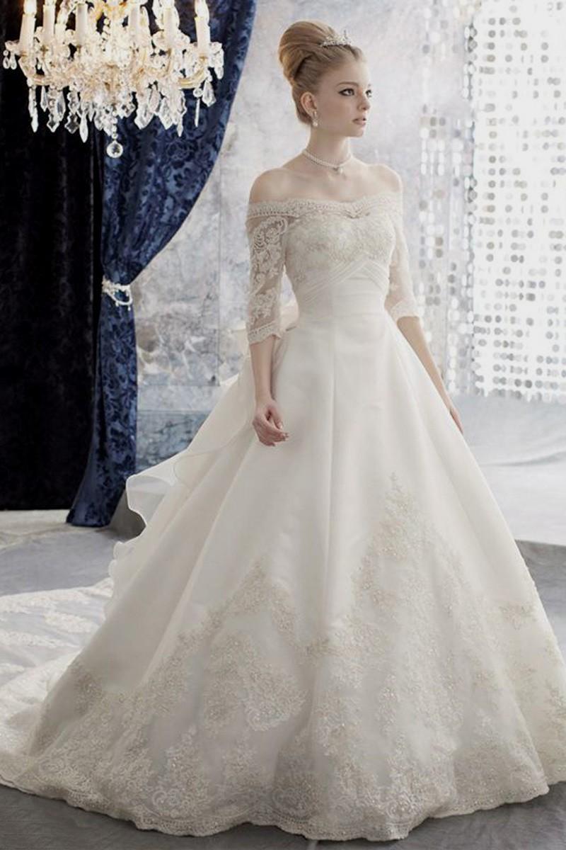 elegant wedding dresses with sleeves photo - 1