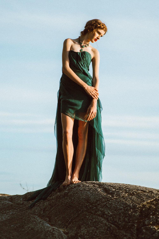 emerald evening dress photo - 1