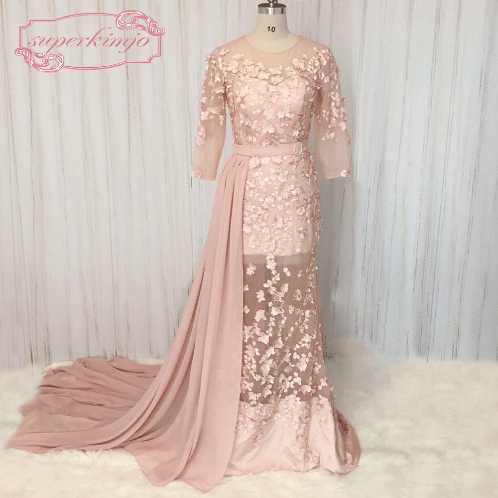 evening dresses 3 4 sleeve photo - 1
