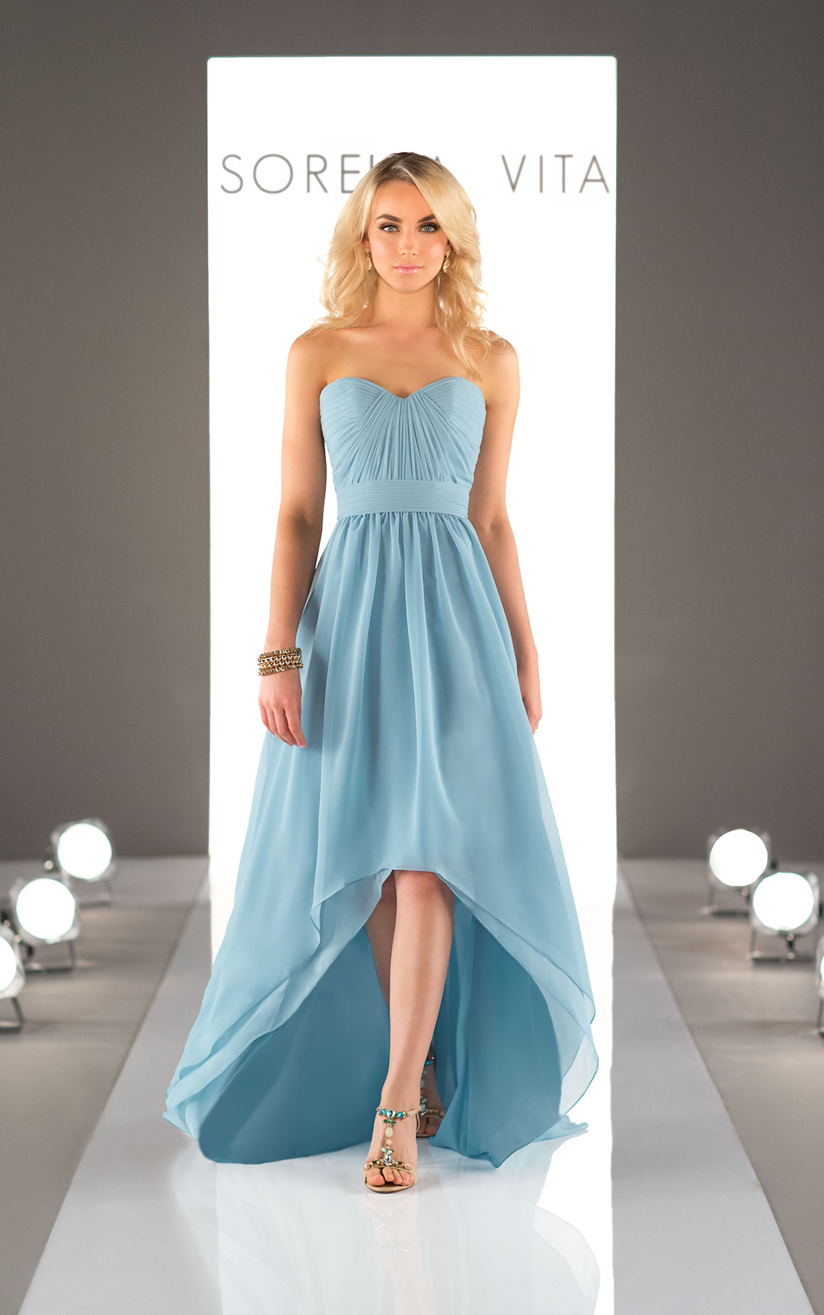 high low evening dresses with sleeves photo - 1