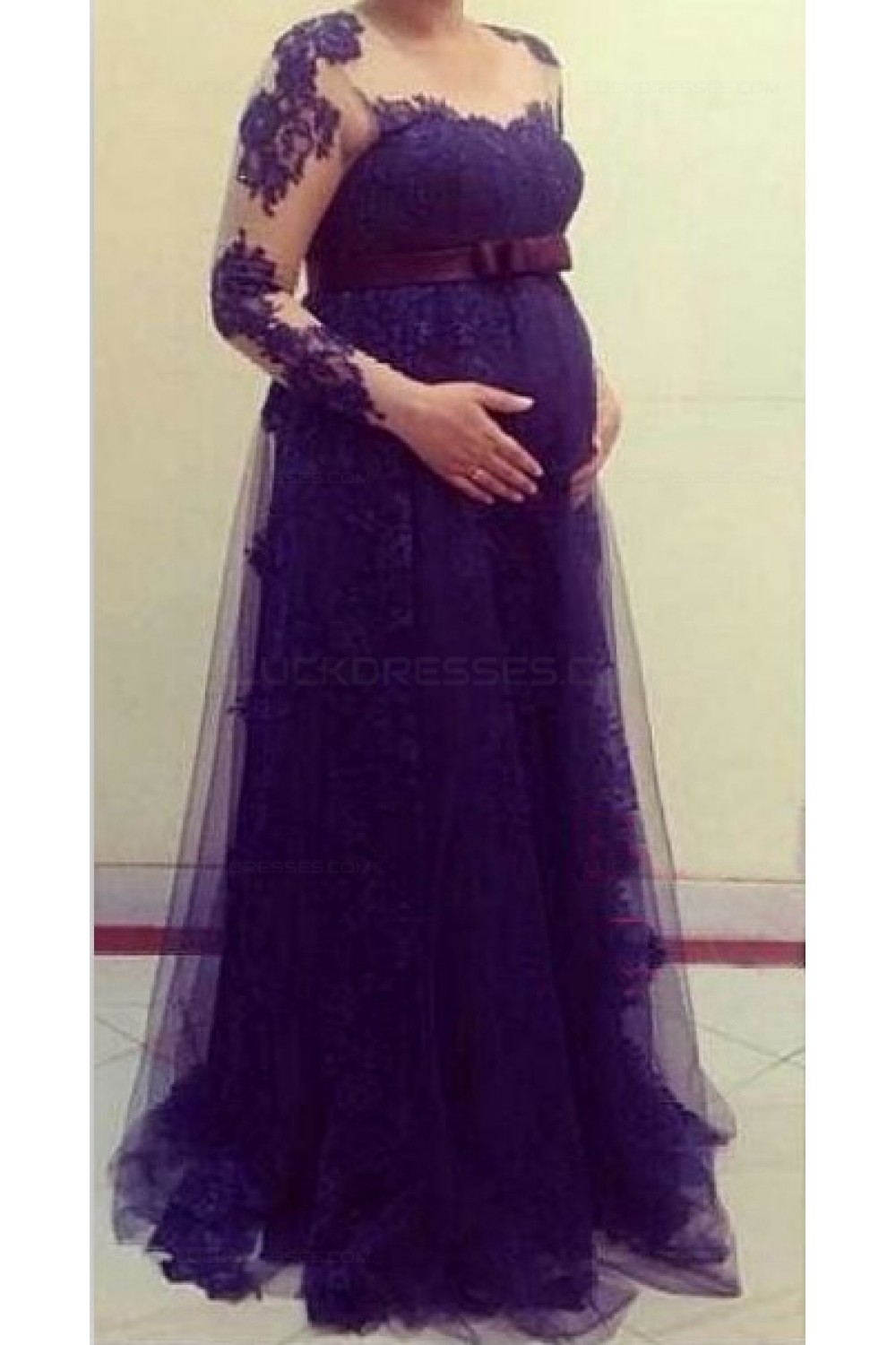 lace evening dresses with sleeves photo - 1