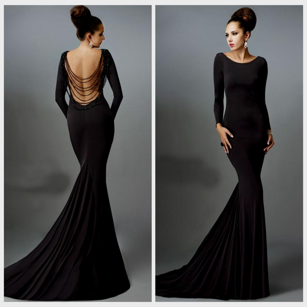 long black evening dresses with sleeves photo - 1