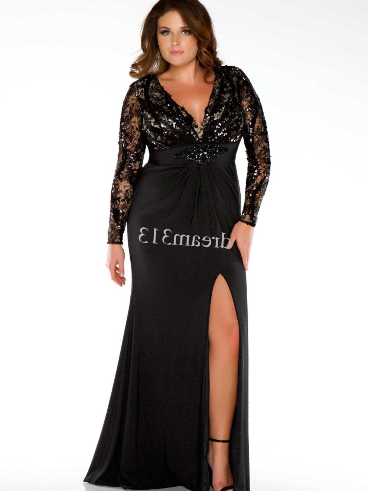 long sleeve evening dresses plus size photo - 1