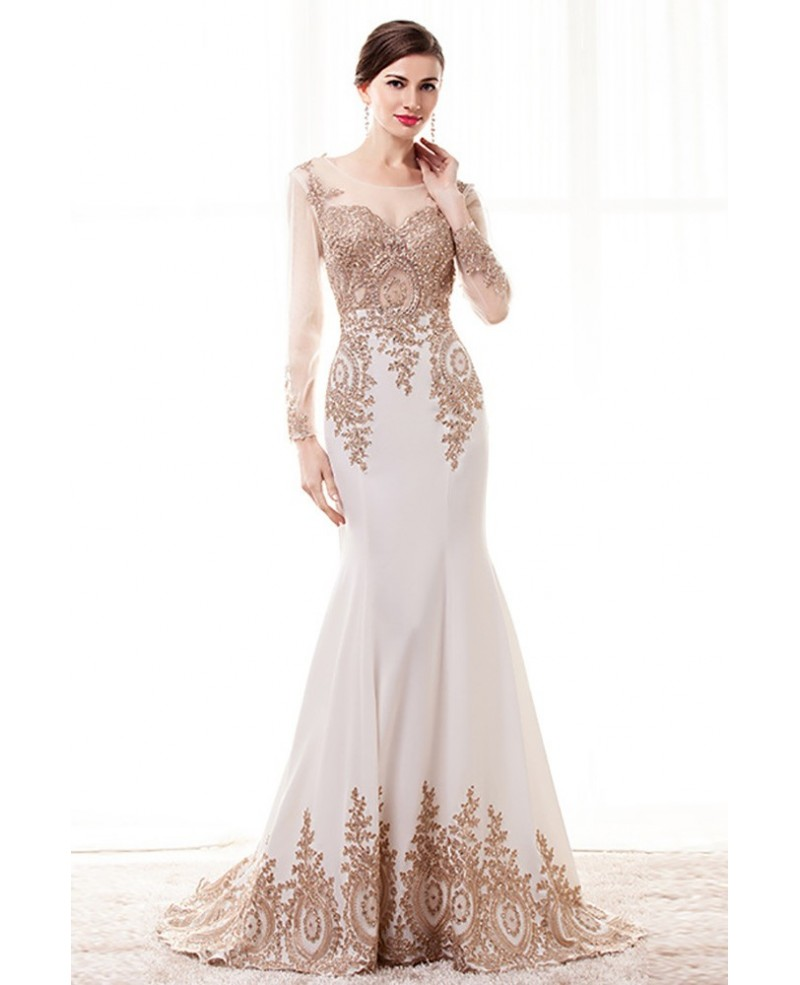 long sleeved lace evening dresses photo - 1