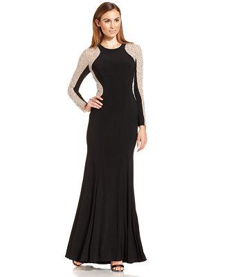 macys long sleeve evening dresses photo - 1