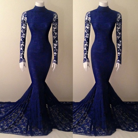 mermaid evening dresses with sleeves photo - 1