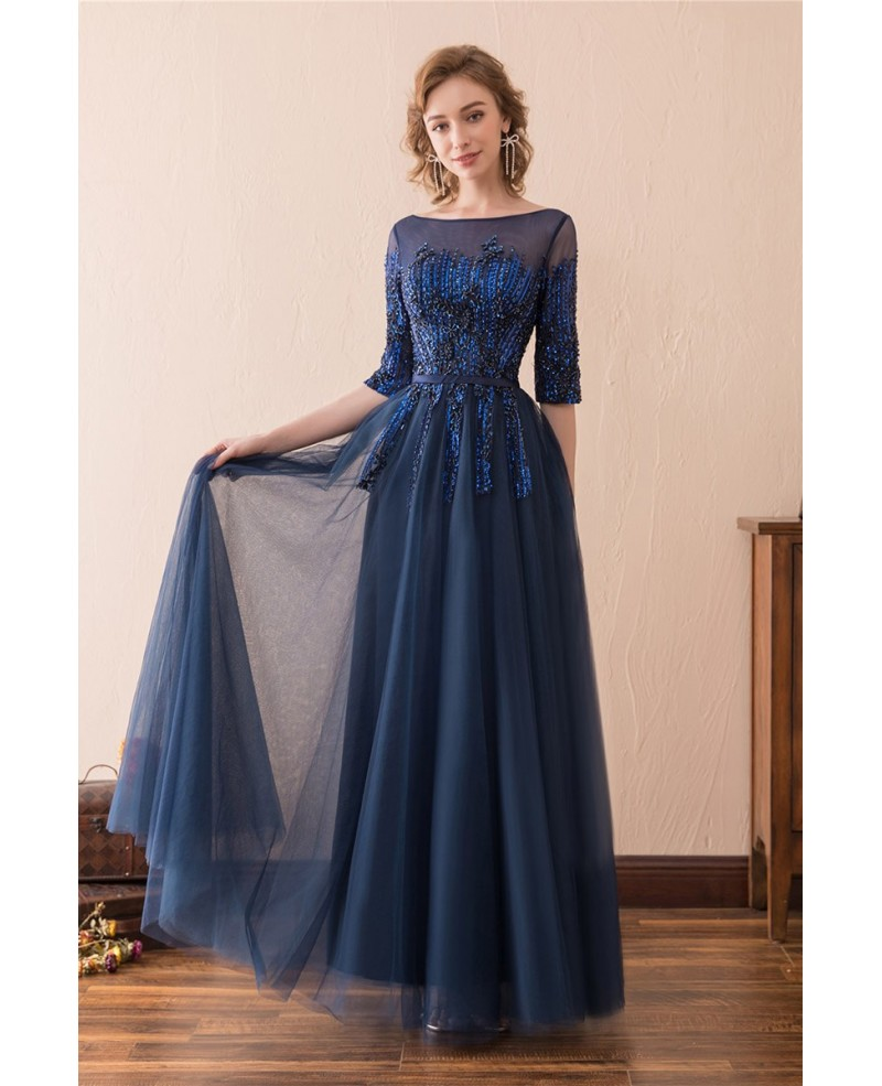 modest evening dresses with sleeves photo - 1