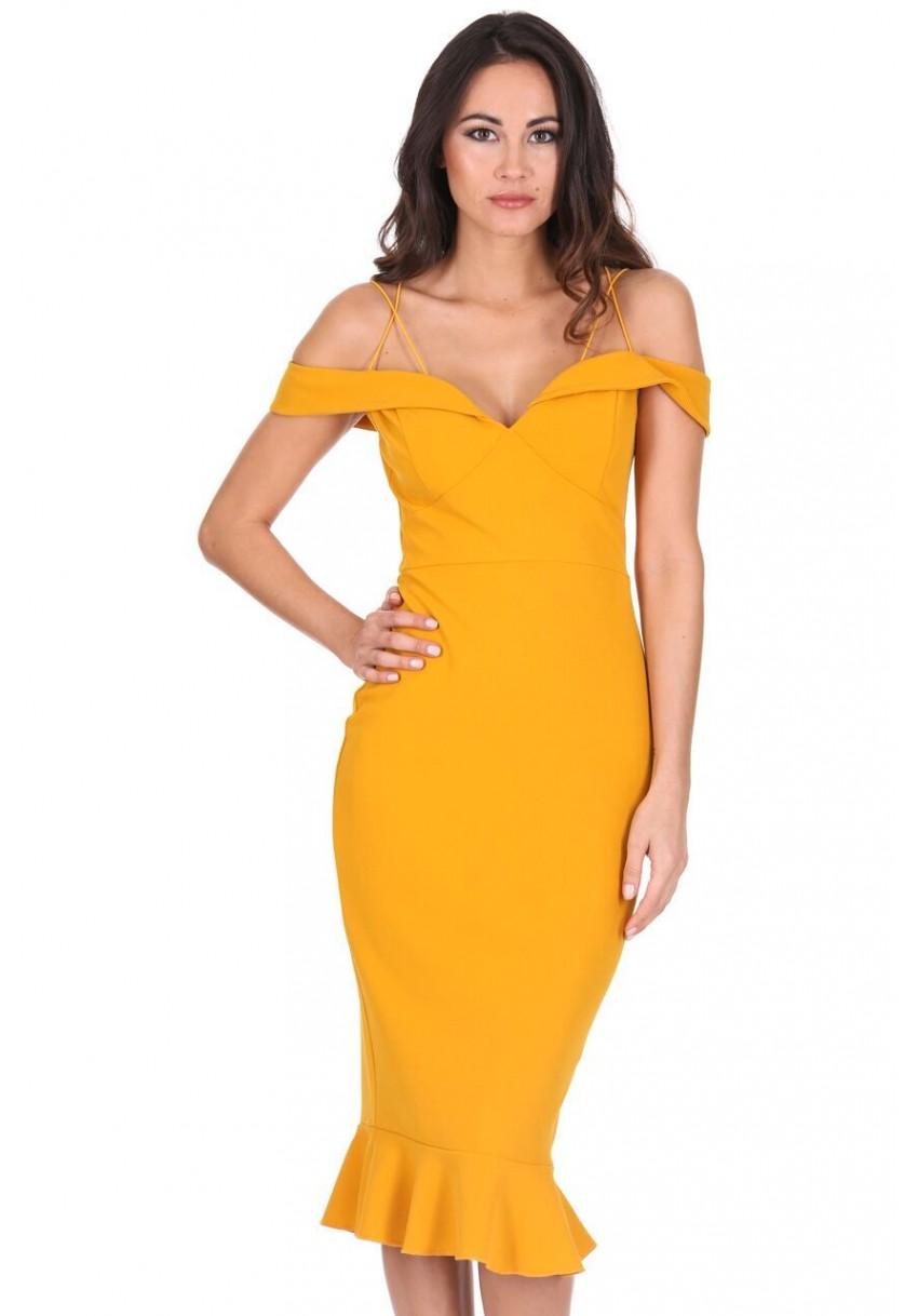 mustard yellow evening dress photo - 1