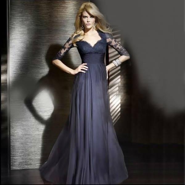 navy blue evening dress photo - 1