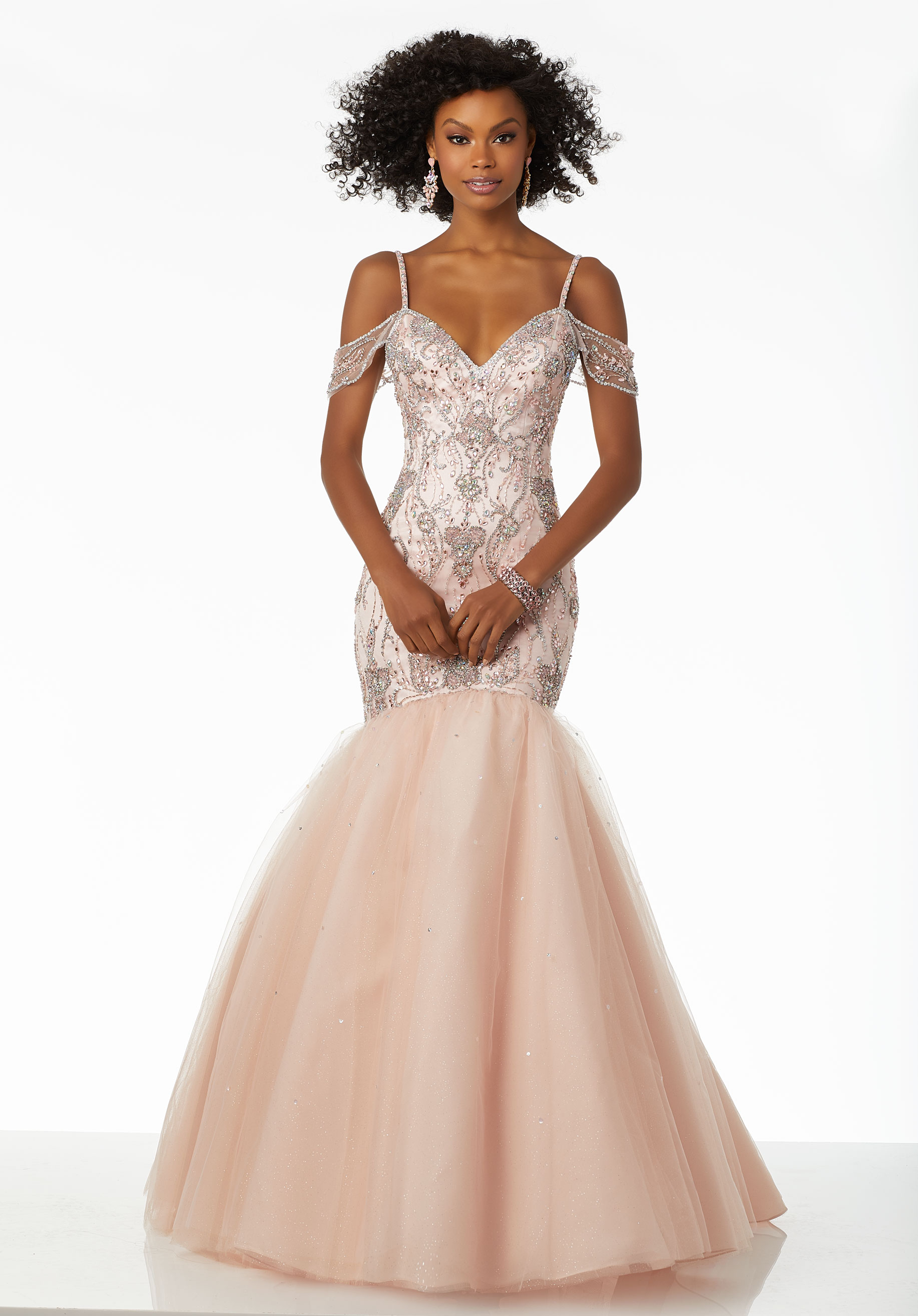 pink evening dresses with sleeves photo - 1