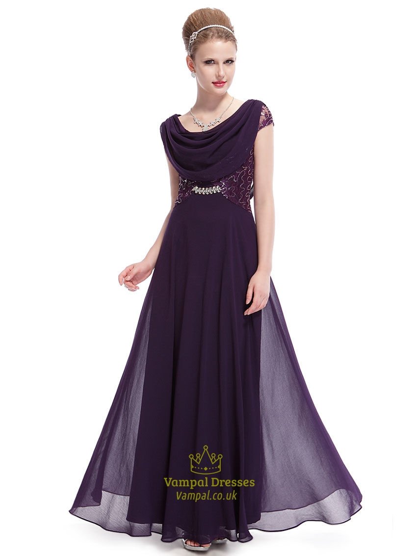 purple evening dress with sleeves photo - 1