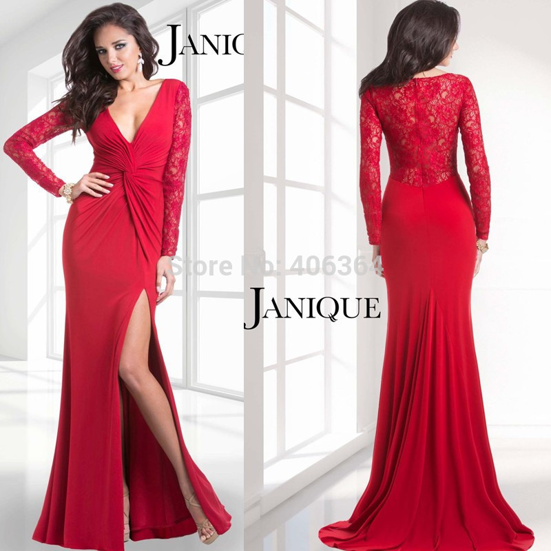 red evening dresses with sleeves photo - 1