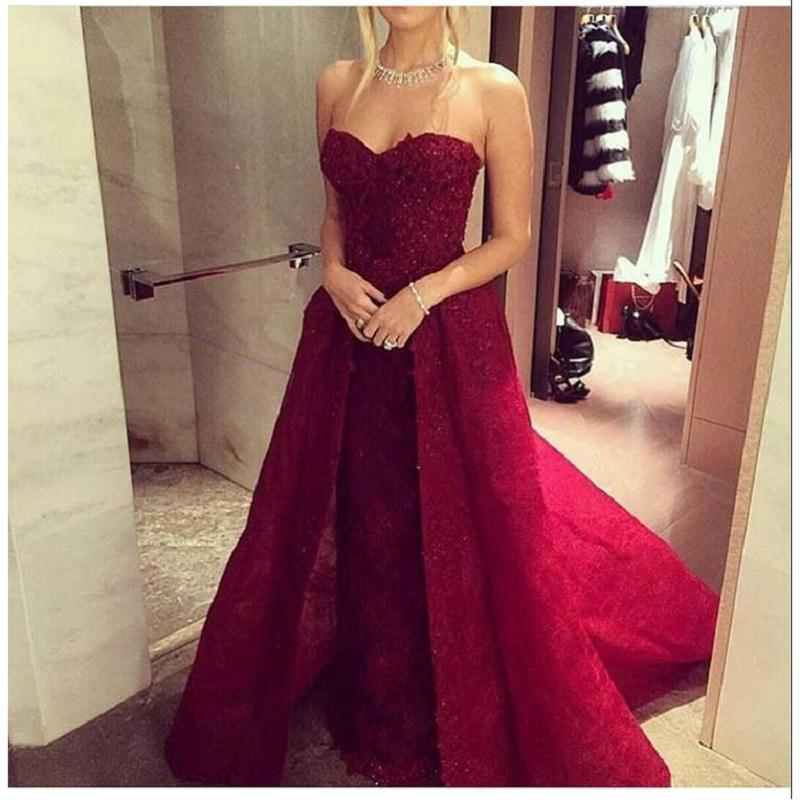 red lace evening dress photo - 1