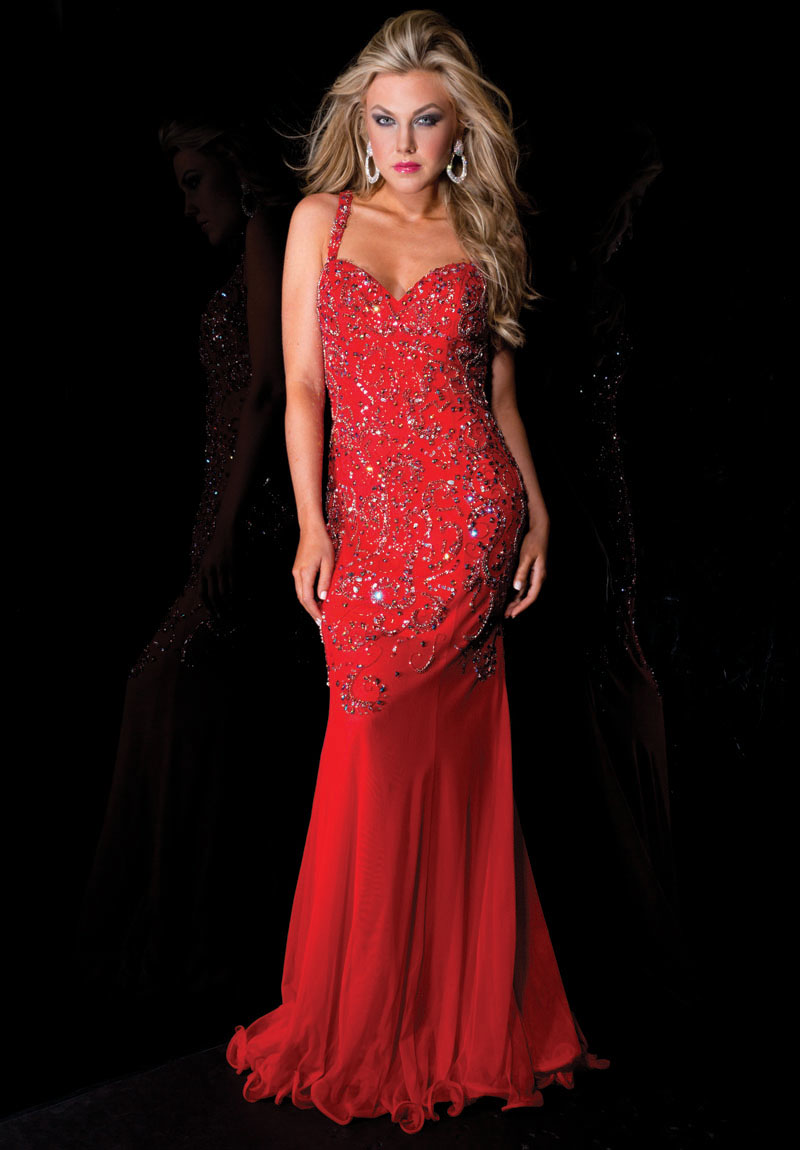red long evening dress photo - 1
