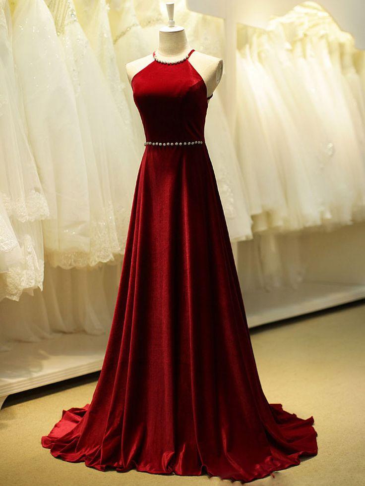 red velvet evening dresses photo - 1