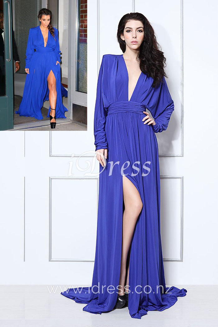royal blue evening dress with sleeves photo - 1
