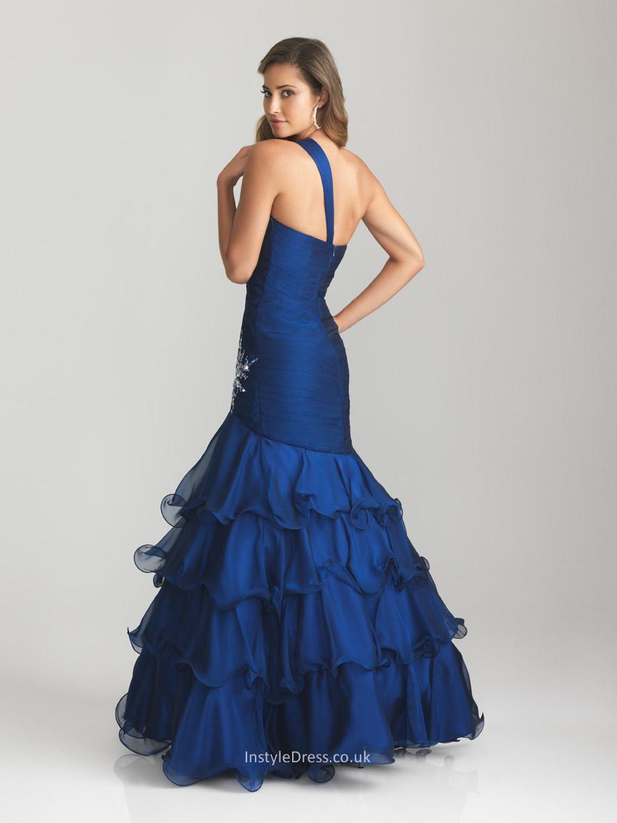 royal blue long evening dress photo - 1