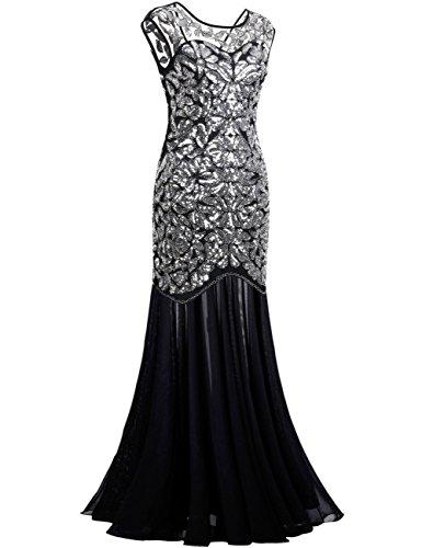silver long evening dresses photo - 1