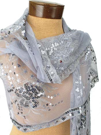 silver scarf for evening dress photo - 1