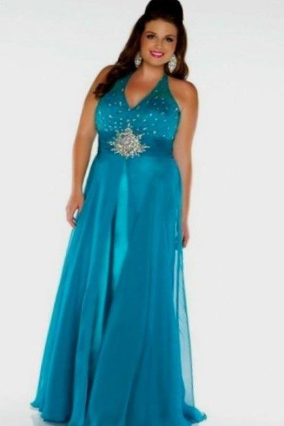 turquoise plus size evening dresses photo - 1
